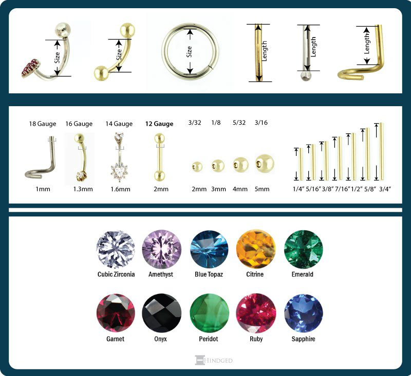 jewelry sizes chart