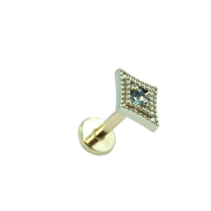 14K Gold Diamond Labret Disc Hindged